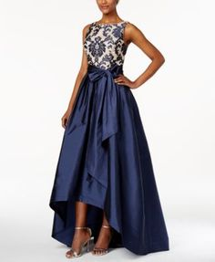 Adrianna Papell Embroidered-Lace Tafetta Gown | macys.com