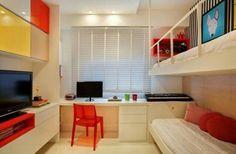 Quarto solteiro duplo Pequenos espaços Home office no quarto