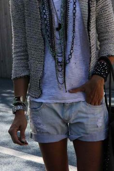 Boucle jackets + boyfriend shorts.