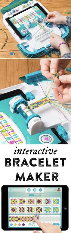 Friendship bracelet making jumps into the century with this interactive bracelet maker. Your iPad locks into the i-Loom device—which is also your work station, complete with thread organization. Crochet Braid Pattern, Braid Patterns, Stitch Patterns, Friendship Bracelet Patterns, Friendship Bracelets, Crochet Braids For Kids, Jewelry Crafts, Handmade Jewelry, Girl Friendship