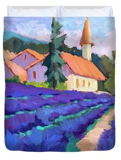 Lavender Field In St. Columne Duvet Cover by Diane McClary