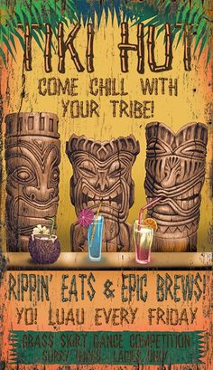 Invite your friends and family over to your very own Tiki Lounge with this fun wall art sign that can be custom created for your home, simply change a few phrases. Tiki Bar Signs, Tiki Bar Decor, Pool Signs, Tiki Art, Tiki Tiki, Vintage Tiki, Vintage Style, Tiki Lounge, Bar Lounge