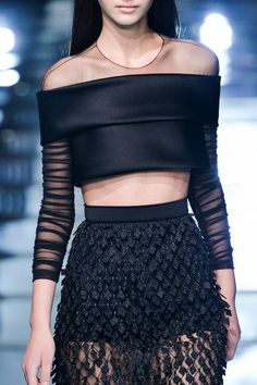 Balenciaga Black Off the shoulder crop top cropped top & matching skirt #UNIQUE_WOMENS_FASHION