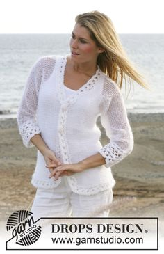 "DROPS Jacket in ""Vivaldi"" with crochet borders in ""Cotton Viscose"" and ""Vivaldi"". Free pattern by DROPS Design."