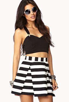 Daring Stripe Pleated Skirt | FOREVER 21 - 2000092955
