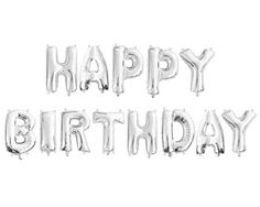 """HAPPY BIRTHDAY"" SILVER FOIL Balloons - Silver Foil Alphabet Balloon Combo Set ""Happy Birthday"" (35cm / 14"") - Light & Co"