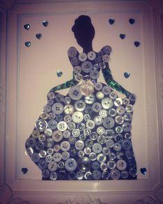 Cinderella, Disney Princess. Framed silhouette, button art. Sparkles.