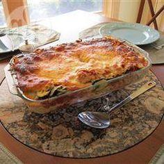 Lasanha de espinafre, cogumelo e abobrinha @ allrecipes.com.br
