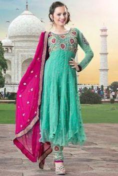 Turquoise Georgette & Net Suit