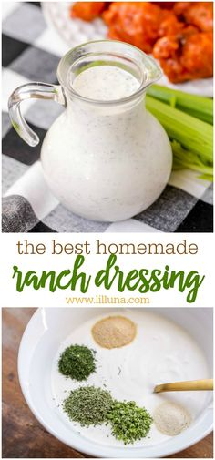 Delicious homemade buttermilk ranch dressing - a staple for salads as well as for appetizers, veggies and more. This simple recipe is made in minutes and is better than any store bought version! dressing The BEST Homemade Ranch Dressing Recipe Molho Ranch, Sauce Recipes, Cooking Recipes, Healthy Cooking, Cooking Tips, Cooking Ham, Cooking Turkey, Cooking Classes, Buttermilk Ranch Dressing