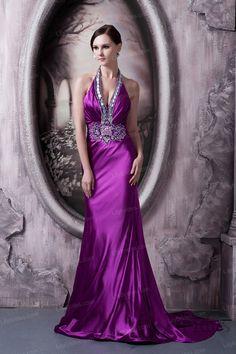 A-line Halter Satin Crystal Evening Dress