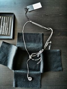 ANN DEMEULEMEESTER 5CT BLACK DIAMONDS SILVER CHAINS NECKLACE,TRAU BROS,4490€ #ANNDEMEULEMEESTER