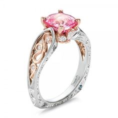 Custom Two-Tone Pink Sapphire and Diamond Engagement Ring #100570