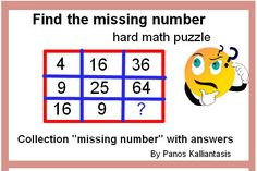"""Improve your math skills to solve math puzzles and manage questions """"Find the missing number"""" Logic Math, Missing Number, Maths Puzzles, Good Grades, Math Skills, Improve Yourself, This Or That Questions, Collection, Mathematical Logic"""