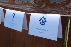 Tented Wedding Place Cards - Four Nautical Designs - Anchor, Lobster, Ship Wheel, Whale, Escort Cards, $.65 each