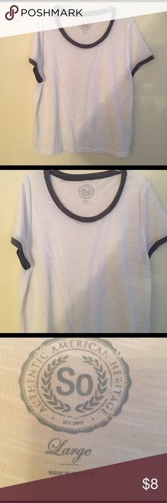 White and Gray Ringer Tee White and Gray Ringer Tee  Size Large  Like new, no flaws   Vs pink Charlotte Russe forever 21 American eagle Aeropostale kohls so candies PINK Victoria's Secret Tops Tees - Short Sleeve