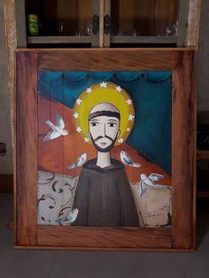 quadro de madeira pintado a mão com moldura de peroba rosa Arte Pallet, Patron Saint Of Animals, Arte Popular, Angel Art, Pattern Illustration, Christian Art, Religious Art, Wood Art, Catholic