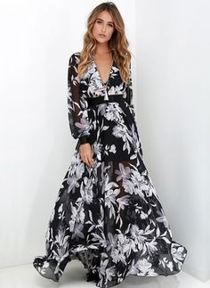 Floral Long Sleeve Maxi Vintage Sashes Dresses (1013899) @ floryday.com