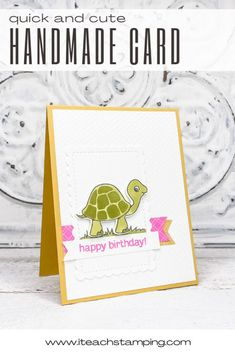 Cards don't get much cuter than this! Click through for details and full supply list to help you make more cards! Supply List, Alcohol Markers, Free Paper, Greeting Cards Handmade, Stamping, Card Stock, Turtle, Card Making, Happy Birthday