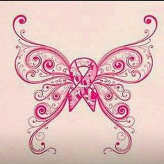 Pink Butterfly w/Pink Ribbon