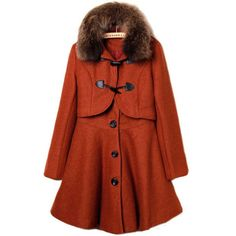 Orange Fur Lapel Long Sleeve Buttons Two Pieces Coat ($95) ❤ liked on Polyvore featuring outerwear, coats, jackets, coats & jackets, tops, orange, red fur coat, lapel coat, fur coat and orange coat