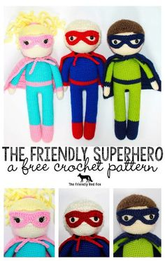 The Friendly Superhero-A Free Crochet Pattern. This crochet doll pattern is 15 inches tall with mask and a cape. A perfect crochet toy for boys or girls! Crochet superhero fun for the superhero fan!