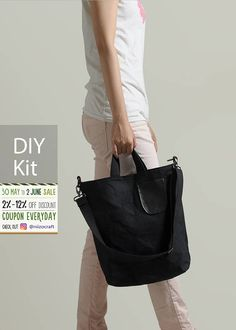 "Waxed Canvas 2 ways Tote Bag DIY Kit with Sewing Pattern & Tutorials (all the materials included) by niizo Difficulty: ★ ★ ★ ★ ☆ Finished size : 36 x 34 x 10 cm(14-1/ 4"" x 13-3/ 8"" x 3-7/ 8"" )  ▨ ▨ ▨ NOTE: This is a Bag DIY Kit, not a finished product. All the materials are included in the package, no more trouble in lacking of some parts of supplies of making the bag :) We ship the sewing Kit from Taiwan within 3 business working days. The estimated shipping days : 10-14 d..."