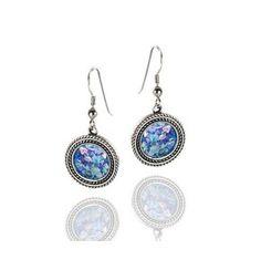 Rafael Jewelry Dangling Earrings in Sterling Silver with Roman Glass