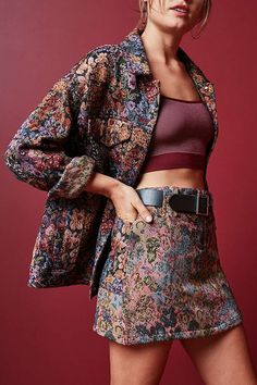 Shop BDG Floral Jacquard Mini Skirt at Urban Outfitters today. We carry all the latest styles, colors and brands for you to choose from right here. 70s Fashion, Fashion 2020, Fashion Dresses, Vintage Fashion, Fashion Quiz, Color Fashion, Fashion Hats, Fashion Quotes, French Fashion