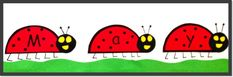 A great first-of-the-month job for reading stations! The children cut apart the ladybug letters and arrange them to correctly spell May. They decorate the ladybugs and add background such as grass and the sun to their paper. ($)