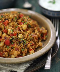 Turkish bulgur pilaf with chickpeas and tomatoes
