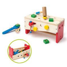 Cette caisse à outils est aussi un établi et un étau. Pour bricoler, l'enfant…