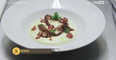 La tradizionale ricetta del polipo e patate rivisitata nella versione raffinata ed elegante dello chef Antonino Cannavacciuolo, ricca di colore e di saporosità.