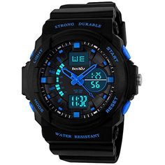 BesWLZ Multi Function Digital LED Quartz Watch Water Resistant Electronic Sport Watches for Boy Girls Child Kids Gift Blue *** See this great product.