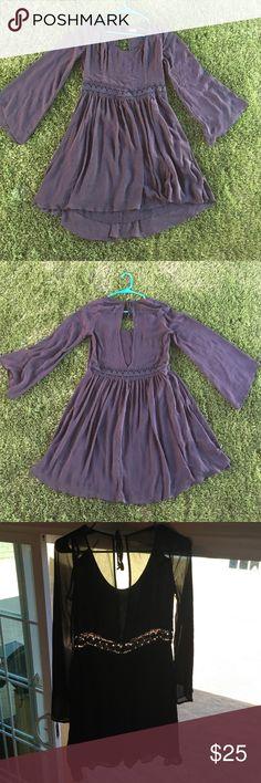 Black Boho Bell Sleeve Dress Light and semi sheer dress with crochet cutout. Hollister Dresses Mini