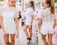 White lace romper #swoonboutique