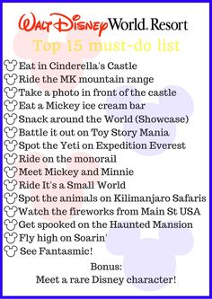 Must do items at Walt Disney World for your first trip                                                                                                                                                                                 More