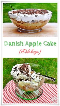 Danish Apple Cake (Æblekage) is not a cake but a traditional Danish dessert comprising of layers of stewed apples, caramelised oats & whipped cream! Danish Cuisine, Danish Food, Snack Recipes, Dessert Recipes, Apple Recipes, Vegetarian Recipes, Danish Dessert, Toasted Oats, Danish Christmas
