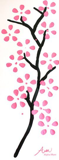 Cherry Blossom Art Made with Soda Bottle, awesome easy craft decor idea.