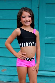 Zebra Pink and Black Dance Outfit Size 2-14 by CarissasTutuCouture