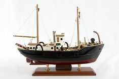 Mid Century Handmade Wooden Trawler Boat by BreadnButterAntiques