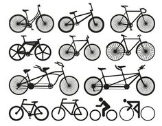 Set containing 12 free bicycle silhouette vectors including racing bikes, BMX, tandem and bike symbols. Free for personal & commercial use. Silhouette Cameo, Bike Silhouette, Silhouette Vector, Silhouette Projects, Vector Graphics, Vector Art, Vector Icons, Free Graphics, Logo Velo
