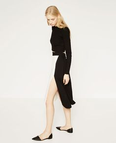 Image 2 of TWO-TONE SKIRT WITH SLIT from Zara