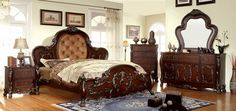 5 pc Castlewood collection rustic cherry finish wood Queen padded and tufted headboard bed set with carved footboard