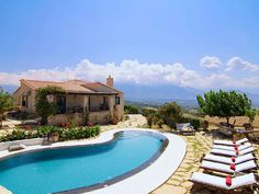 Rethymno villa rental - The pool terrace is equipped with sun beds and surrounded by flowers! Crystal Clear Water, Terrace, Swimming Pools, Beds, Villa, Sun, Outdoor Decor, Flowers, Balcony