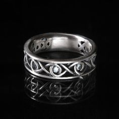 Celtic White Sapphire Wedding Ring With Infinity by CelticEternity, $181.50
