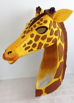 Giraffe head handmade. Animal friendly costume by TentacleStudio