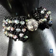 ♥ Mesmerizing Weaved Black Glass & Iridescent Crystal Plated Silver Bracelet #Bracelet