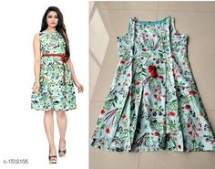 Dresses Printed Green Knee length Crepe Dress Fabric: American Crepe Sleeves: Sleeves Are Included Inside Size: XS -34 in, S - 36 in, M - 38 in, L - 40 in, XL - 42 in Length: Up To 40 in Type: Stitched Description: It Has 1 Piece Of Women's Dress With Free Belt Work: Printed Sizes Available: XS, S, M, L, XL *Proof of Safe Delivery! Click to know on Safety Standards of Delivery Partners- https://ltl.sh/y_nZrAV3  Catalog Rating: ★4.2 (10061)  Catalog Name: Myhra Stylish American Crepe Dresses Vol 3 CatalogID_196628 C79-SC1025 Code: 803-1512106-