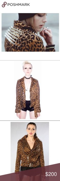 ✨UNIF Studded Leather Moto Jacket✨ UNIF Studded Leopard Moto Jacket with a wide notched collar and studs all across the shoulders and back yoke. Moto inspired zippers on the cuffs and sideways front zippers. Off center diagonal front zip closure with adjustable belt at the hem and buckle detail. Fully lined. Literally the most amazing leopard print jacket we've ever tried on our bodies. Made from 98% cotton and 2% Spandex. Feels like faux suede tho. Worn twice for a photo shoot! UNIF Jackets…